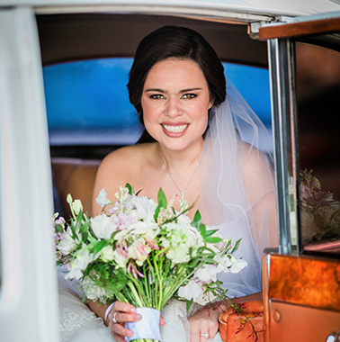 The Brookside Banquets Bride in Car